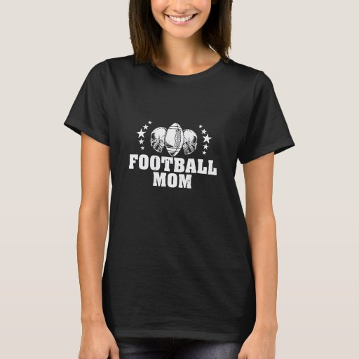 Football Mom American Football Mother White Print T-Shirt