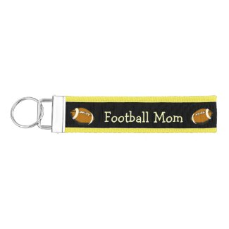 Football Mom Black and Brown Sports Wrist Keychain
