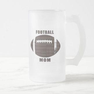 Football Mom Frosted Glass Beer Mug