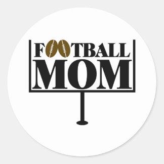 Football Mom Goal Post Classic Round Sticker