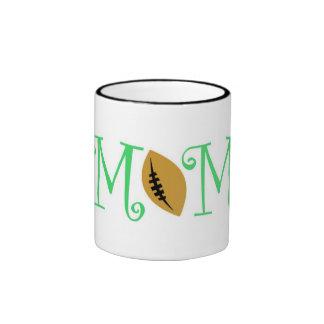 Football Mom, Green Ringer Mug