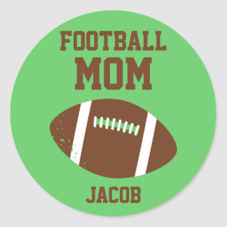 Football Mom Number with Name Brown Classic Round Sticker