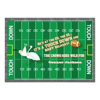 "Football MVP & Stork Baby Shower Invitation 5"" X 7"" Invitation Card"