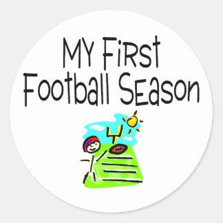 Football My First Fooball Season (Stick Figure) Classic Round Sticker