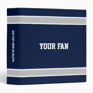 Football Navy, Silver & White Personalized Binder