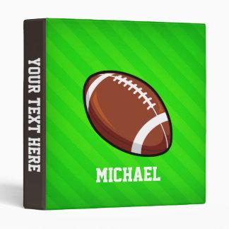 Football; Neon Green Stripes 3 Ring Binder