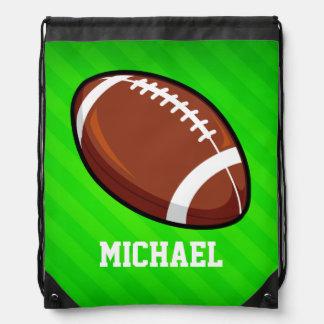 Football; Neon Green Stripes Drawstring Backpacks