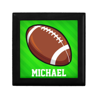 Football; Neon Green Stripes Gift Box