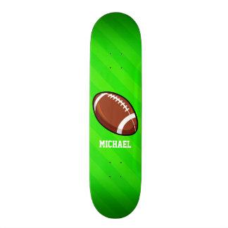 Football; Neon Green Stripes Skateboard Deck