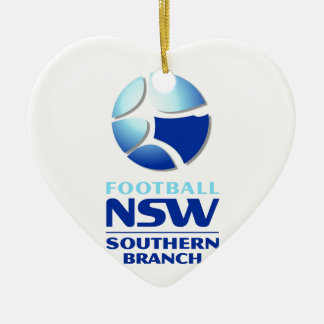 Football NSW Southern Branch Official Merchandise Double-Sided Heart Ceramic Christmas Ornament