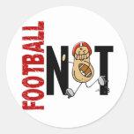 Football Nut 1 Round Stickers