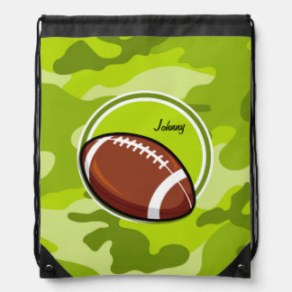 Football on bright green camo, camouflage drawstring bags