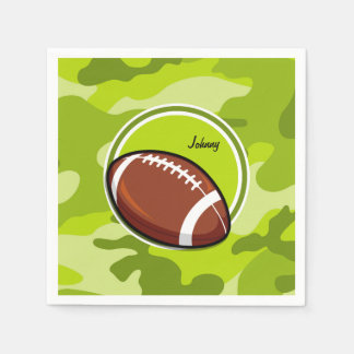 Football on bright green camo, camouflage paper napkins