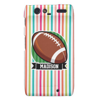 Football on Colorful Stripes Droid RAZR Covers