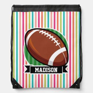 Football on Colorful Stripes Drawstring Backpacks