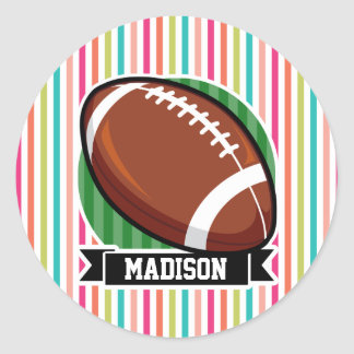 Football on Colorful Stripes Round Stickers