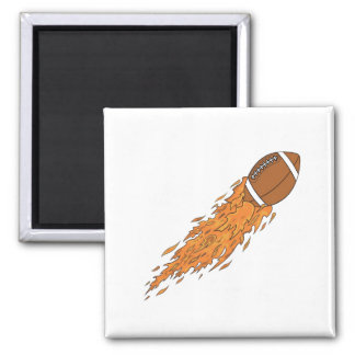 Football on Fire 2 Inch Square Magnet