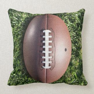 Football on Grass Throw Pillow