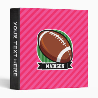 Football on Green and Neon Pink Stripes 3 Ring Binder