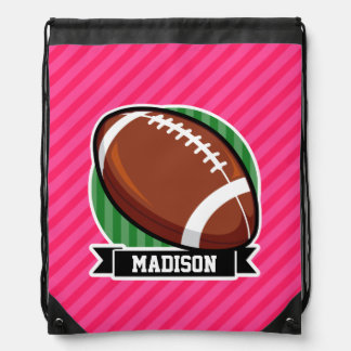 Football on Green and Neon Pink Stripes Drawstring Bags