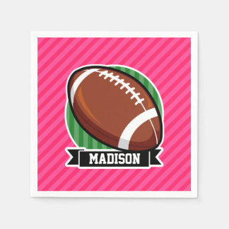 Football on Green and Neon Pink Stripes Disposable Napkins