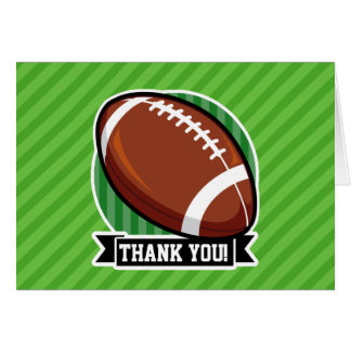 Football on Green Stripes Stationery Note Card