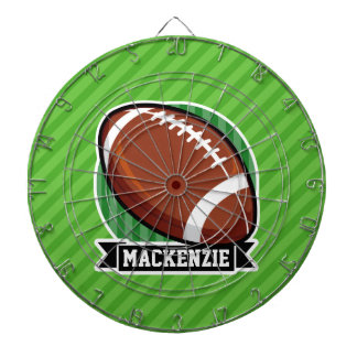 Football on Green Stripes Dart Board