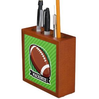 Football on Green Stripes Desk Organizer