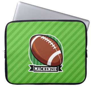 Football on Green Stripes Laptop Computer Sleeve