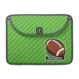 Football on Green Stripes MacBook Pro Sleeves