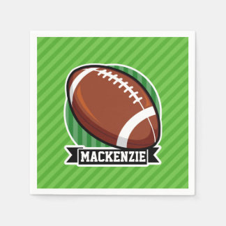 Football on Green Stripes Paper Napkins