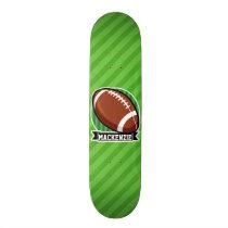 Football on Green Stripes Skateboard Deck