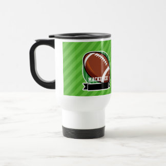 Football on Green Stripes Travel Mug