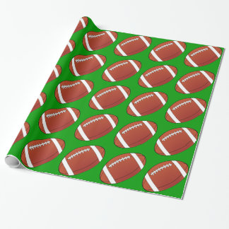 Football on Green Wrapping Paper
