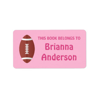 Football on pink background bookplate label