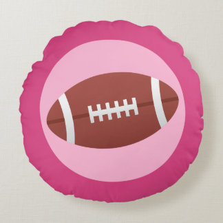 Football on pink with darker border round pillow