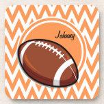 Football; Orange and White Chevron Beverage Coaster