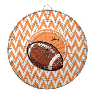 Football; Orange and White Chevron Dartboard