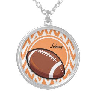 Football; Orange and White Chevron Pendant