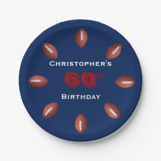 Football Paper Plates, 60th Birthday Party