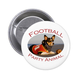Football Party Animal 2 Inch Round Button