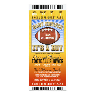 Football Party Baby Shower 4x9.25 Paper Invitation Card