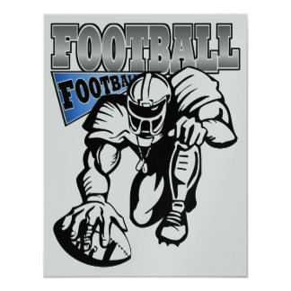 Football Party Blue and White (Black) by SRF Card