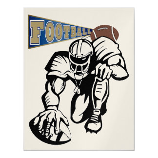 Football Party Gold and Blue by SRF Custom Announcement