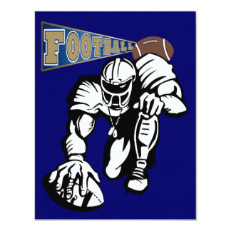 "Football Party Gold and Blue by SRF 4.25"" X 5.5"" Invitation Card"