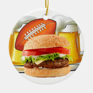 Football Party Double-Sided Ceramic Round Christmas Ornament