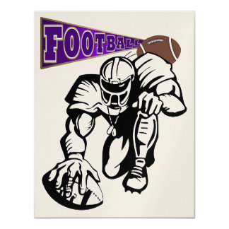 Football Party Purple and Gold by SRF 4.25x5.5 Paper Invitation Card