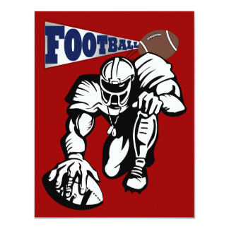 "Football Party Red, White, and Blue by SRF 4.25"" X 5.5"" Invitation Card"