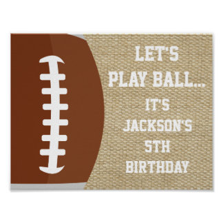 Football Party Sign with Burlap Background