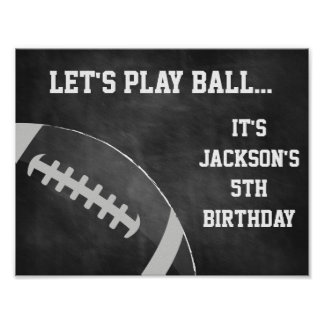 Football Party Sign with Chalkboard Background